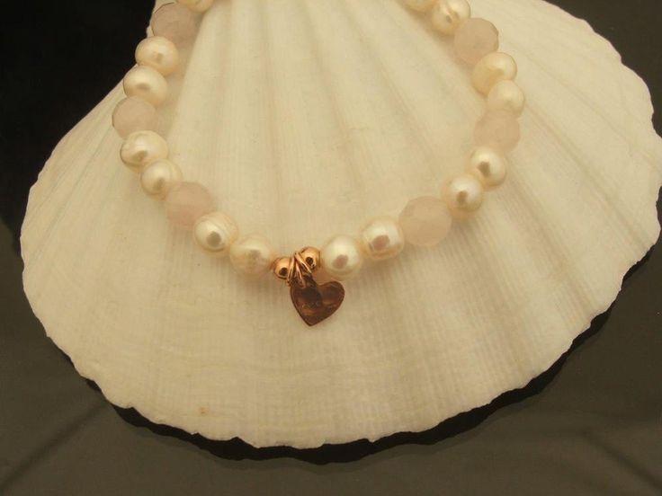 Faceted Rose Quartz & Pearl Stretch Bracelet/Heart charm 925 Silver Rose Gold in Jewellery & Watches, Fine Jewellery, Fine Bracelets | eBay