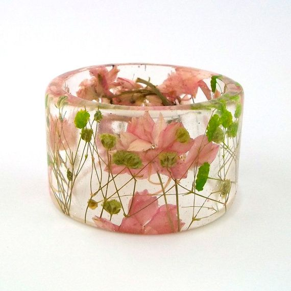 Pink and Green Botanical Resin Bangle.  Chunky Bangle with Pressed Flowers.  Real Flowers - Green Baby's Breath.. $44.00, via Etsy.