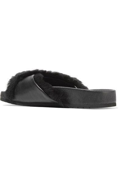 Vince - Garrison Shearling-trimmed Leather Slides - Black - US5.5