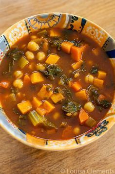 Moroccan vegetable soup is a healthy and comforting vegan dinner, packed with aromatic spices and sweet potatoes, carrots, chickpeas and kale.