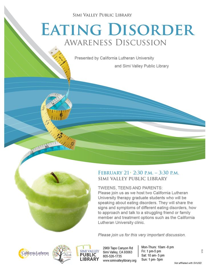 Join us as we host two California Lutheran University graduate students who will be speaking about eating disorders. They will share the signs and symptoms of different eating disorders, how to talk to a struggling friend or family member, and treatment options. #svpl #simivalley #neda #eatingdisorder #awareness