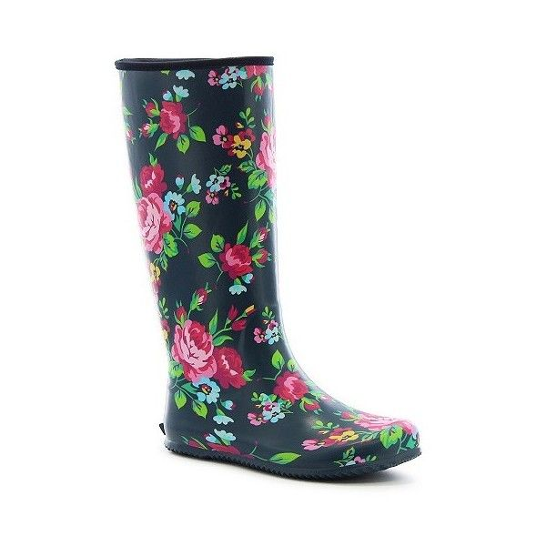 Women's Pack-able Floral Matte Rain Boots ($25) ❤ liked on Polyvore featuring shoes, boots, blue, floral boots, lightweight rain boots, wellies boots, rubber boots and waterproof boots