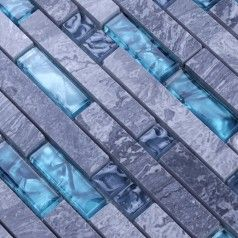 Gray Stone Blue Glass Mosaic Tiles Backsplash Kitchen Wall Tile Natural Marble Floor Designs BGM008