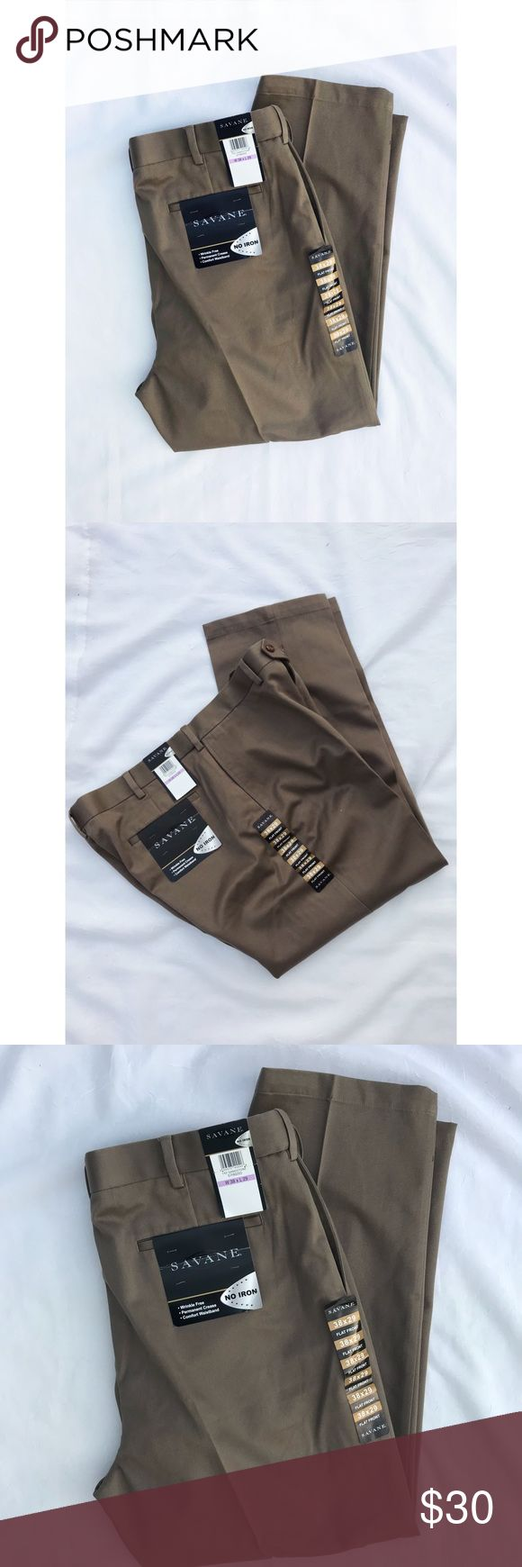 "NWT • Men's Dress Pants •Savane • 38x29 No iron  Wrinkle free Comfort waistband  Flat front  Mocha color  Savane  100% cotton Brand new with tags   29"" Inseam  J savane Pants Dress"