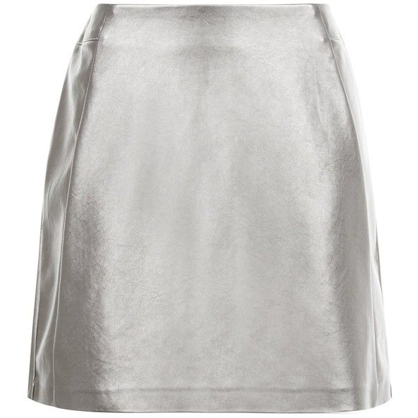 New Look Petite Silver Leather-Look Skirt (99 ILS) ❤ liked on Polyvore featuring skirts, silver, petite skirts, silver skirt, imitation leather skirt, vegan leather skirt and metallic skirt