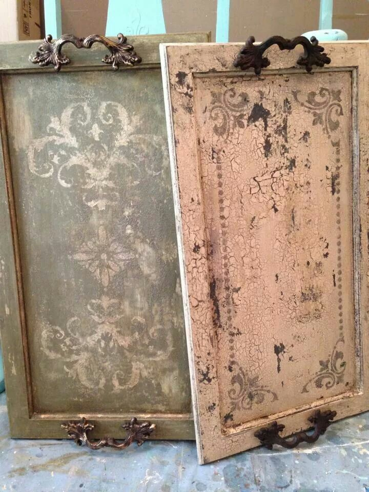 Repurposed cabinet doors into trays
