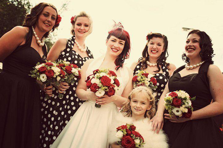 Bride and Bridesmaids all looking fabulous in their Vivien of Holloway Dresses! #VivienofHolloway #polkadotdresses  http://www.vivienofholloway.com/  #Vivienofholloway Vivienofhollowaywedding #VivienHolloway #VoH #Vintagereproduction #madeinlondon #1950sstyle #1950sfashion #1950s #1950sglamour #pinupgirl #pinup #rockabilly #rockabillygirl #rockabillyclothing #pinupfashion #1950sDress #1950sHalterneckDress #1950sCircleDress #1950swedding #vintagewedding