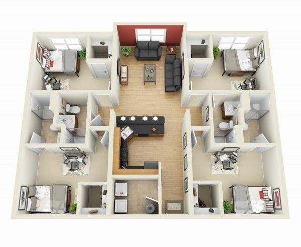 4 Bedroom Apartment/House Plans  43) 4 Bedroom_3D