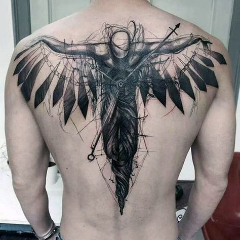 An amazing angel warrior tattoo idea made in sketch style. Tha piece is put on the guy's back.
