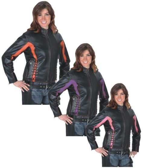 Embroidered Laced Vented Women's Leather Motorcycle Jacket Black & Purple, Pink, or Red - Bigfoottrading Inc