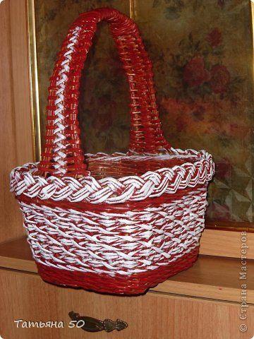 Поделка изделие Пасха Плетение Просто корзинки   Трубочки бумажные фото 3