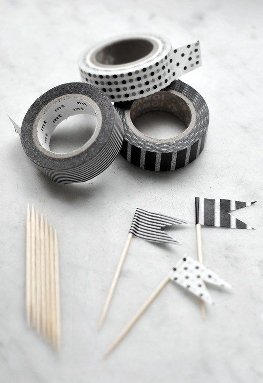 Washi tape picks - simple cupcake toppers