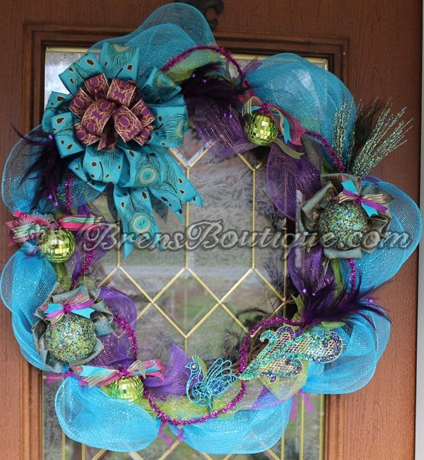 peacock wreath, deco mesh wreath, deco mesh