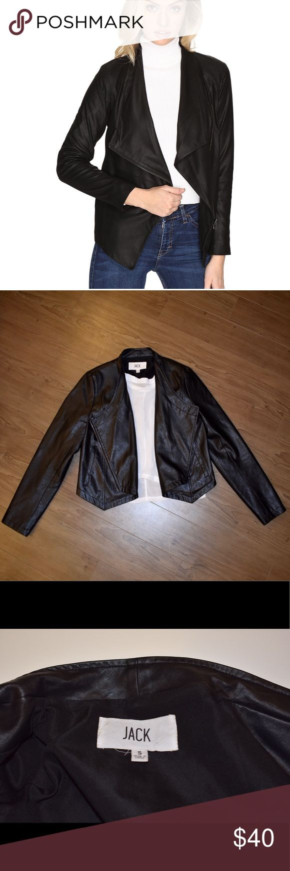 BB Dakota Jack Vegan Leather Jacket In perfect condition faux leather jacket by BB Dakota Jack. Originally retailed for $75. Has a zipper in front and elastic in the back. This is a size small but fits me comfortably and I normally wear a medium. It can definitely fit a variety of sizes. BB Dakota Jackets & Coats