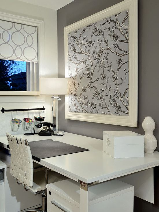 LOVE! Fabric covered bulletin board; geometric gray and white shade; use of white and gray.