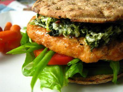 Spinach Dip Salmon Burger