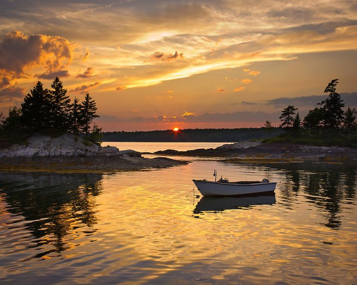 Sunset at my favorite harbor in Harpswell, Maine
