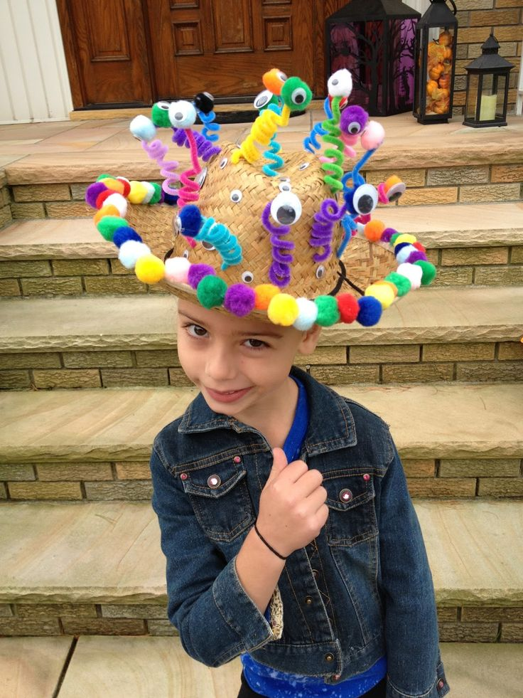 """This is from a google search for """"crazy hats.""""  Looks like a little kid made it, so yours should be better but could use similar materials."""