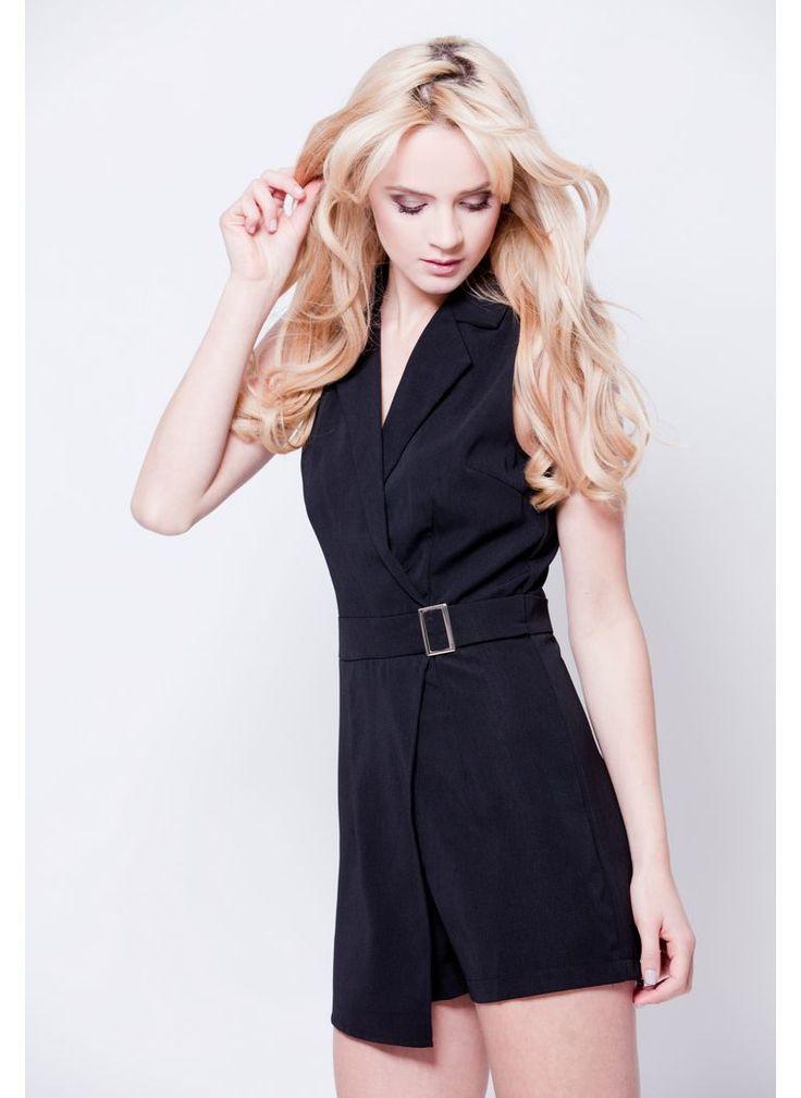 KOMBINEZON ELEGANCKI MINI SPRZĄCZKA CZARNY I ROMPER BLACK I  MONASHE.PL - Sklep online z modną odzieżą. Bluzki, sukienki, torebki, obuwie, akcesoria.