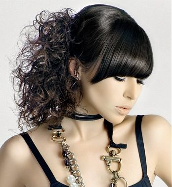 Straight Bangs Fringe With Loose Curly Ponytail Hairstyle By Hooker Young
