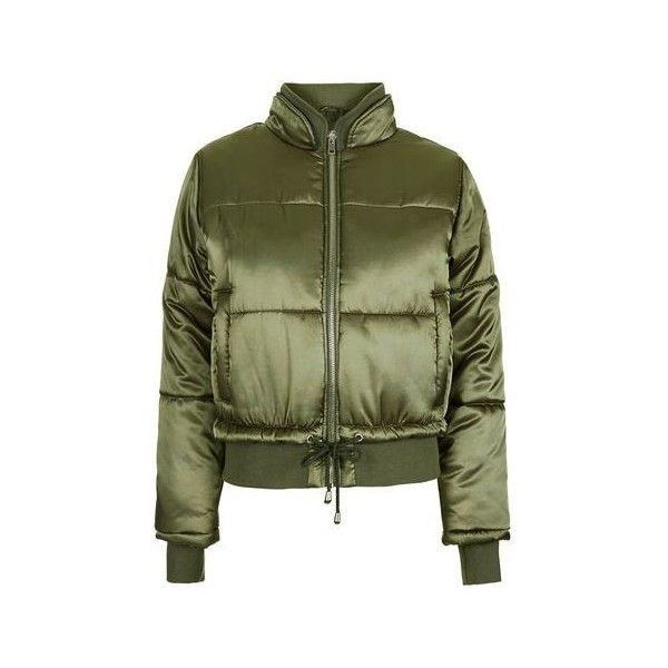 TopShop Satin Puffer Jacket (120 CAD) ❤ liked on Polyvore featuring outerwear, jackets, khaki, khaki green jacket, collar jacket, satin jackets, green jacket and puffer jackets
