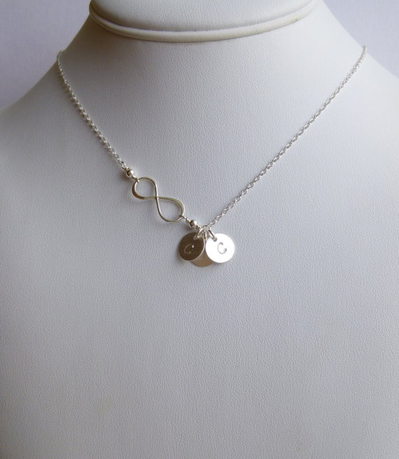 Infinite Love Necklace with Three Initial by tinycottagetreasures, $32.50. Would be cute with the kids initials!