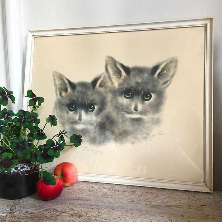 """2 katte med skønne grønne øjne der virkelig lyser op ☀️ Det er sådan lidt i Sikker Hansen stil, men der står vidst """"Johansen"""" eller """"Johanson"""" samt """"original tegning"""". Fin stand, både ramme og værk. 56x46cm, 200kr 💕☀️ #værk #kunst #sikkerhansen #johanson #johansen #orginaltegning #æbler #efterår #pynt #hjemmet #hjemme #minstil #kattemis #kattekillinger #sendes"""
