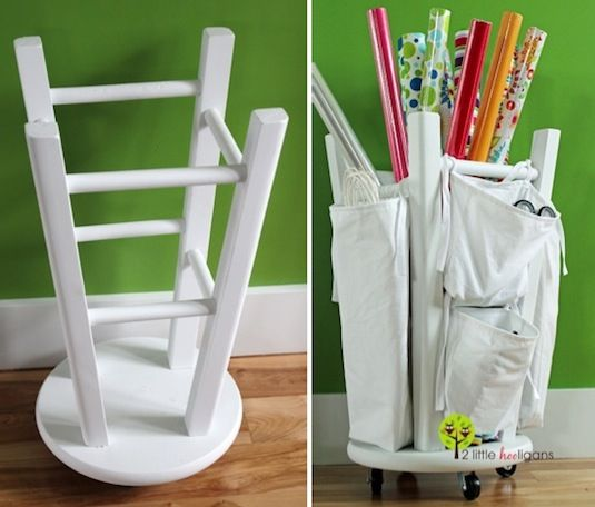 20 Unusual Furniture Hacks | Stool repurposed as a gift wrap & craft organizer.