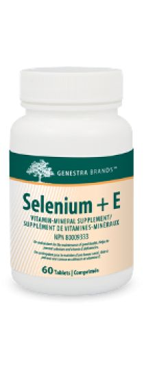 Selenium + E by Genestra - contains two extremely valuable antioxidants, selenium and vitamin E, synergistically combined for maximizing their potential in the prevention and management of cellular free radical damage. An antioxidant for the maintenance of good health; helps to prevent selenium and vitamin E deficiencies