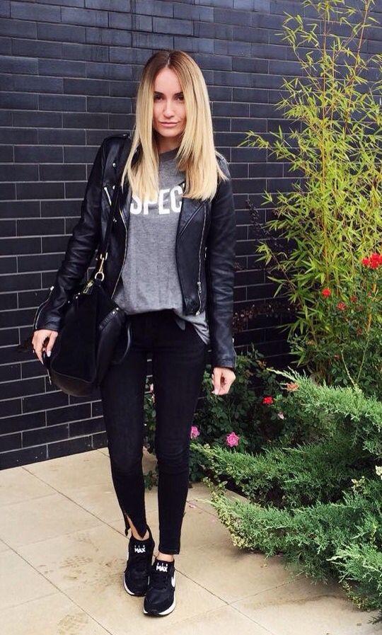 Jaqueta de couro + tênis preto