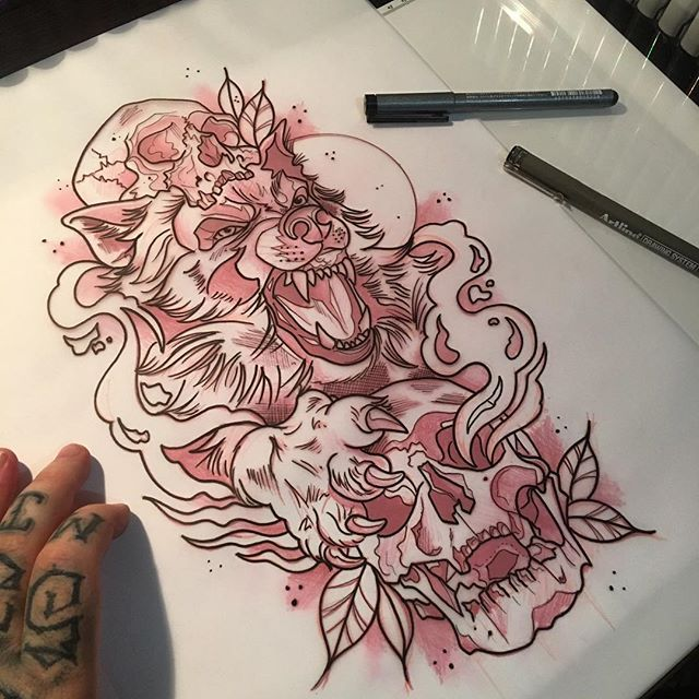 Resultado de imagen de wolf in sheepskin tattoo new school