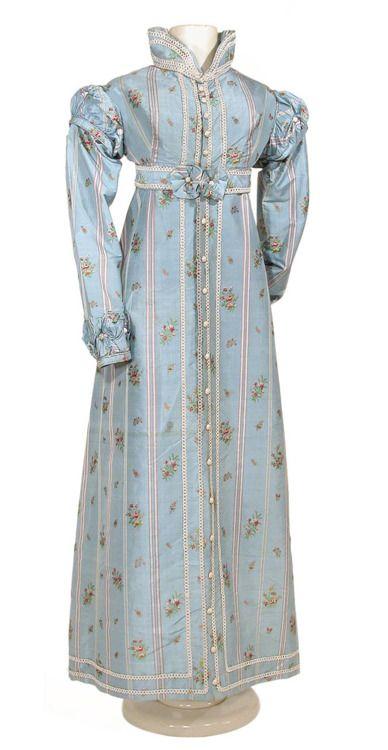 Striped blue silk pelisse, ca. 1815