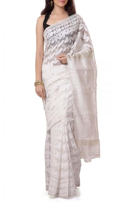 White Dhakai Cotton Jamdani Saree
