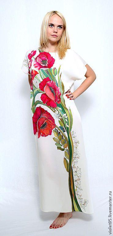 Купить Мак ослепительный - шелковое платье батик - Батик, платье, Платье из шелка, купить батик