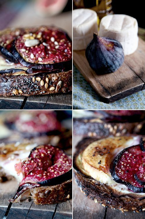 Crusty bread brushed with olive oil and honey then topped with eggplant, goat cheese and figs