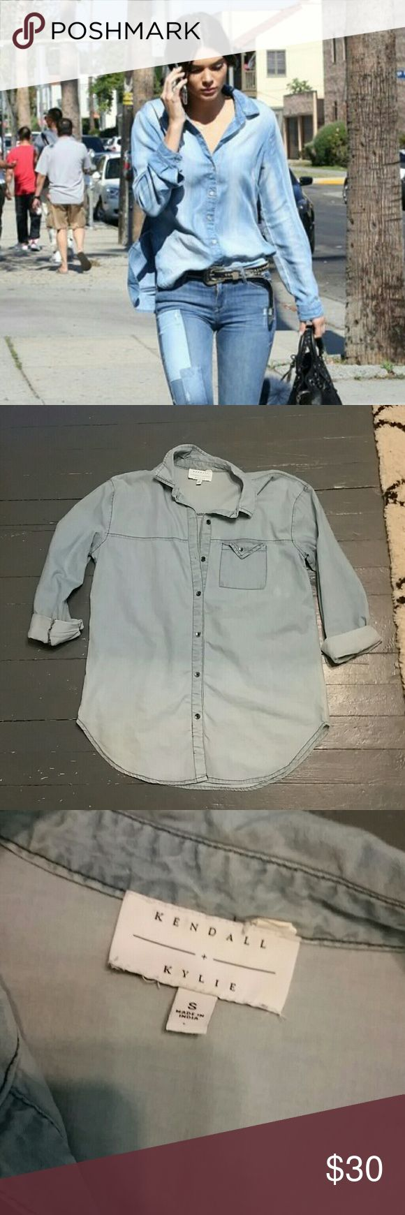 Denim Button Down Shirt Like new. Oversized ombre denim button up shirt. Reasonable offers always considered. Kendall & Kylie Tops Button Down Shirts