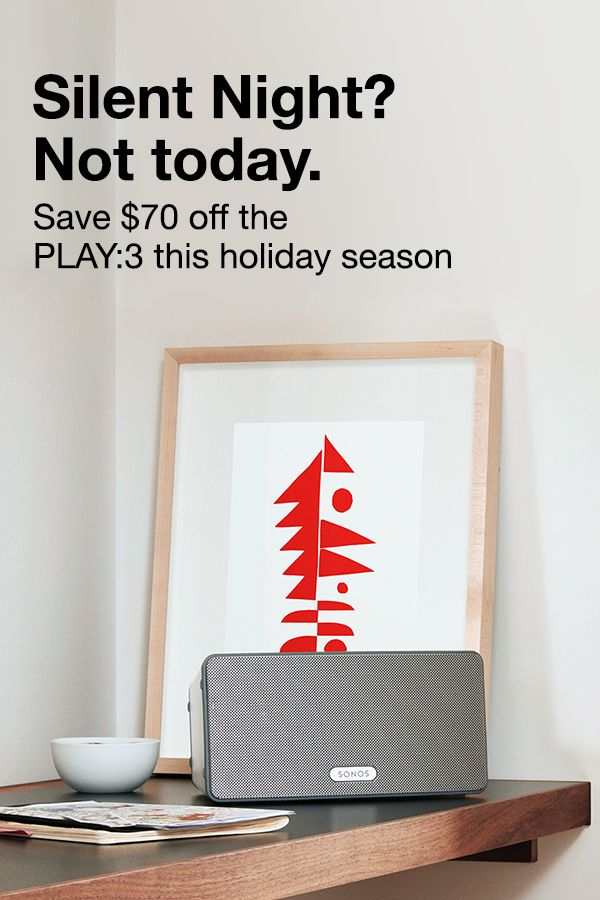 Give the gift of intense, immersive sound this holiday season with the SONOS Play:3, the mid-size home speaker with stereo sound. Buy the SONOS Play:3 this holiday season and save $70.