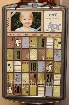 Cookie Sheet Calendar made with Scrapbooking Papers! #scrapbooking #diy #crafting