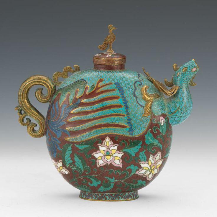 Chinese Cloisonne Enamel Phoenix Teapot, ca. Late Qing Dynasty/Republic Period