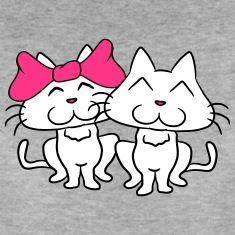 Lieve schattige koppels paar liefde katten T-shirts