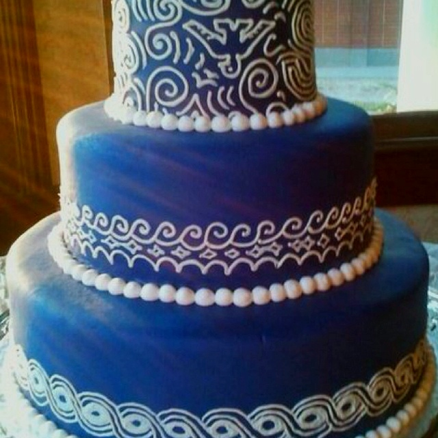 Blue Wedding Cake Ideas: Coral And Royal Blue Wedding Cake Ideas 83166