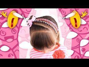 Peinados infantiles – Recogido para niñas decorado con cintas y flores – Hairst…