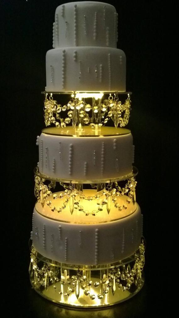 Crystal Cake Separator Crystal Drape Led S Set Of 3 Sizes 15cm 20cm 25cm 6 8 10 By 3 Tall In 2020 Wedding Cake Stands Fountain Wedding Cakes Crystal Cake