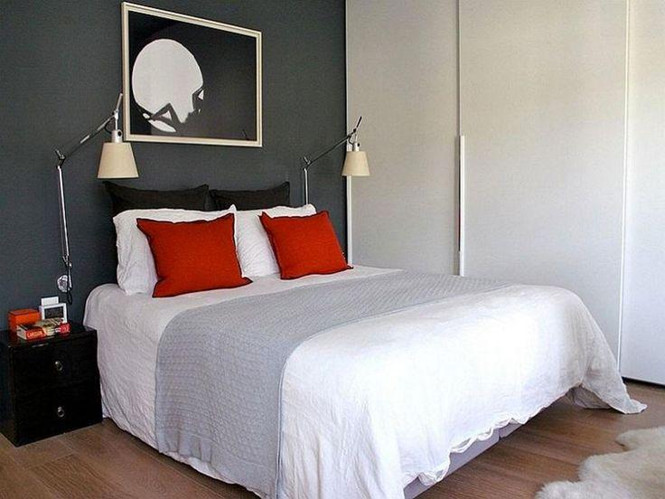 Camera da letto nelle tonalità rosso e grigio n.07