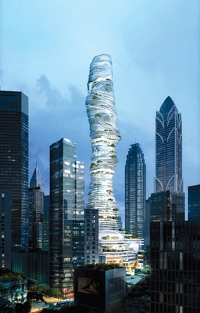 (MA Yansong / MAD, Urban Forest, Chongqing, China, 2009)  The Urban Forest is a high commercial high rise tower {385 m} that has panamoric city views by floor-to-ceiling glass. Each level's interior is protected by full length glass windows with a see-through, wrap around balcony. The floor seems that the floor is floating on top of one another. (J.C.)