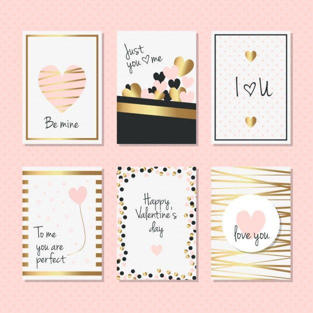 cartões elegantes, com detalhes dourados para Dia dos Namorados Vetor grátis