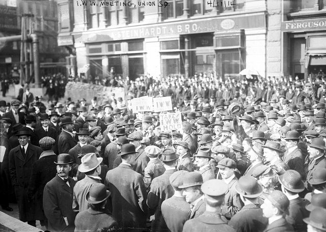 Members of the Industrial Workers of the World (IWW), known as the Wobblies, gather together in a large crowd during a rally in Union Square, New York City, April 11, 1914. (Photo by Bain News Service/Interim Archives/Getty Images)