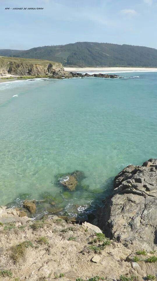 Playa de A Fragata y, al fondo, Playa de Esmelle (Cobas, Ferrol, Spain).