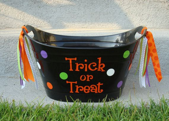 Large Personalized Halloween Candy Bucket Beverage by Maggiebelles