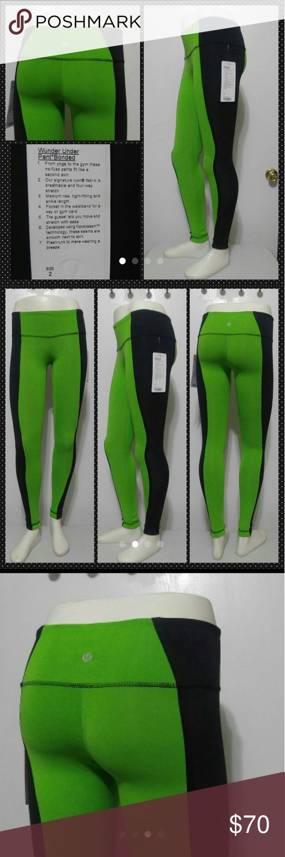 Nwt Lululemon Wunder Under Pants New w tag  Size 2  Bright green and black Lululemon Wunder Under pants bonded   Yoga to gym Luon fabric  Medium rise tight fit ankle length  Pocket in waistband  Preshrunk  Fantasic color combo  Makes a great gift  Yoga gym workout Pilates No trades lululemon athletica Pants Leggings